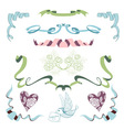 Set with ribbons flowers and bird vector