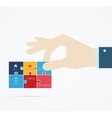 Hand taking business card vector