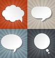 Sunburst backgrounds set with speech bubbles vector