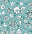 Seamless pattern with blue lace diamonds flowers vector