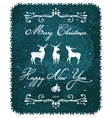 Merry christmas and new year vintage deer greeting vector