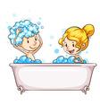 A girl and a boy at the bathtub vector
