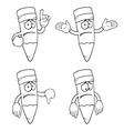 Black and white sad cartoon pencils set vector