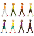 Eight boys walking without faces vector