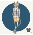 Hand drawn fashion portrait of hipster cat vector