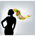 Woman and flowers vector