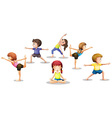 Children stretching vector