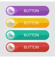 Flat buttons with clip icon vector