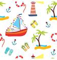 Summer sea seamless with yacht vector