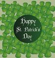A green background with a lot of clovers and text vector