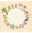 Summer decorative round banner vector