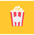 Popcorn package bag with empty label tag cinema vector