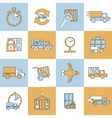 Delivery icons set flat line vector