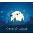 Santa claus with reindeer sleigh vector
