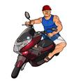 Cartoon man in a helmet on a scooter vector