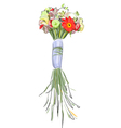 Bouquet with a long stems watercolor style vector
