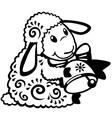 Cartoon sheep black white vector