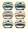 Set of vintage labels with lakemountains and pines vector