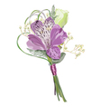 Boutonniere with alstroemeria and eustoma vector