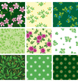Set of various seamless floral pattern vector