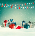 Winter christmas background with gifts and a vector