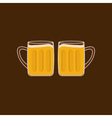 Two beer glasses mug with foam cap froth bubble vector