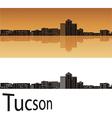 Tucson skyline in orange background vector