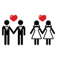 Gay marriage icons set vector