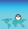 Penguin and map of the world art vector