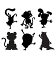 Silhouettes of animals in black and gray colors vector