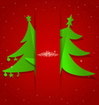 Merry christmas greeting card with christmas tree vector