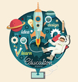 Boy on space with rocket education design vector
