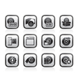 Computer media and disk icons vector