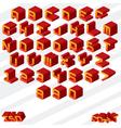 3d isometric alphabet vector