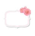 Pastel pink rose label vector