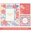 Retro frames invitation cards with birds flowers vector