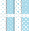 Cute baby patterns set - seamless boy blue texture vector