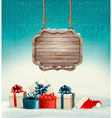 Christmas background with a retro wooden sign and vector
