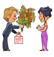 Cartoon man in suit gives a bouquet of flowers vector
