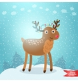Merry christmas greeting card with deer vector