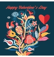 Floral background with birds in love vector