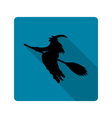 Silhouette of a witch on a broom icon vector