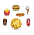 Fast food and takeaway food icons vector