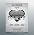 Valentines day party flyer template- silver design vector