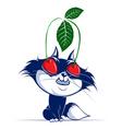 Cartoon cat with cherry eye vector