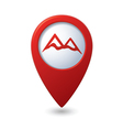 Map pointer with mountain icon vector