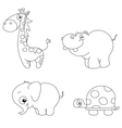 Outlined cute animals vector