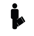 Man with travel bag icon silhouette vector