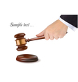 Hand holding judge gavel vector