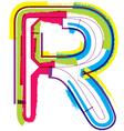 Colorful grunge font letter r vector